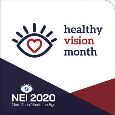 test is healthy vision month. graphic is eye with heart inside
