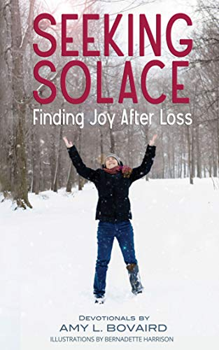 Book cover of Seeking Solace. Amy Bovaird, author, is standing in snow field against a backdrop of trees holding her hands in the air
