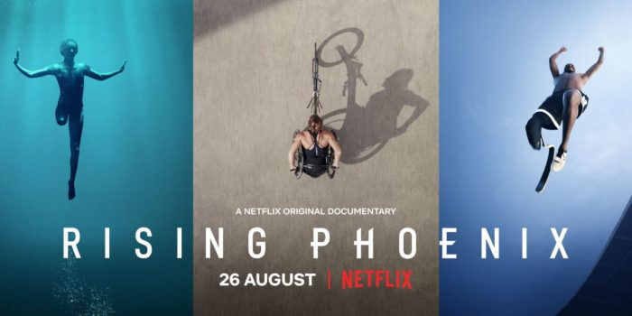 Rising Phoenix film from Netflix, image of 3 athletes with disabilities, silhouettes