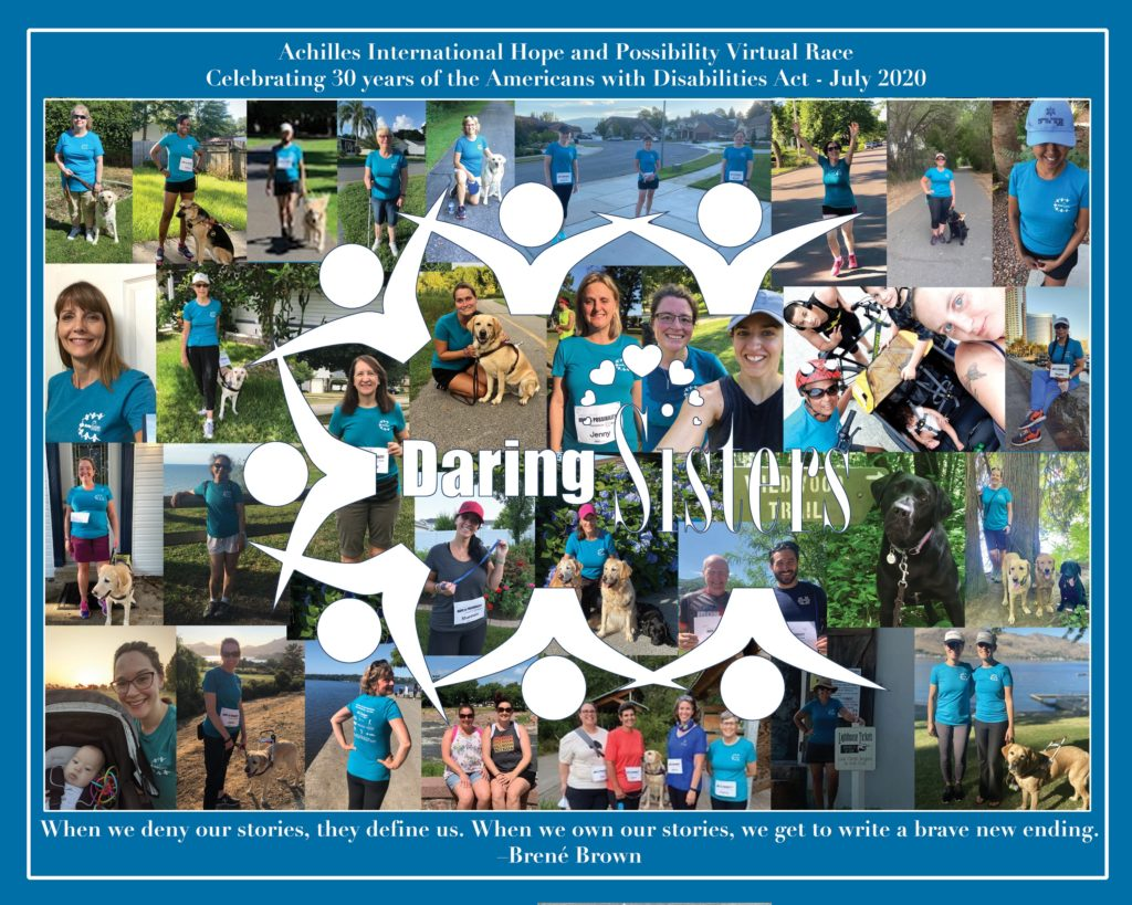 Daring Sisters Team Photo for Achilles International Hope and Possibility Virtual Race Celebrating 30 Years of the ADA July 2020. Picture has the runners and the horseshoe logo made of figures holding hands. Photo collage by Sarah McManick. Also has the quote mentioned in the post