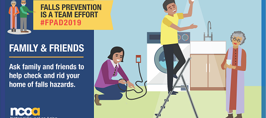 NCOA poster saying Fall Prevention is a Team Effort and family members checking a home for falls hazards.