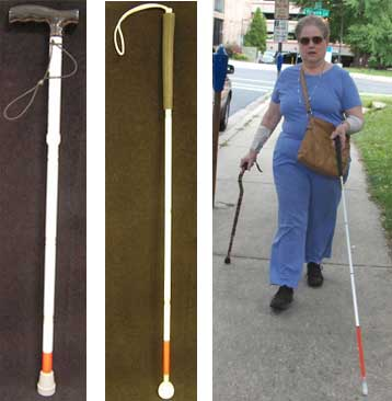on left--pictures of white canes with red at end  on right--woman using long white cane in left hand. and support cane in right hand