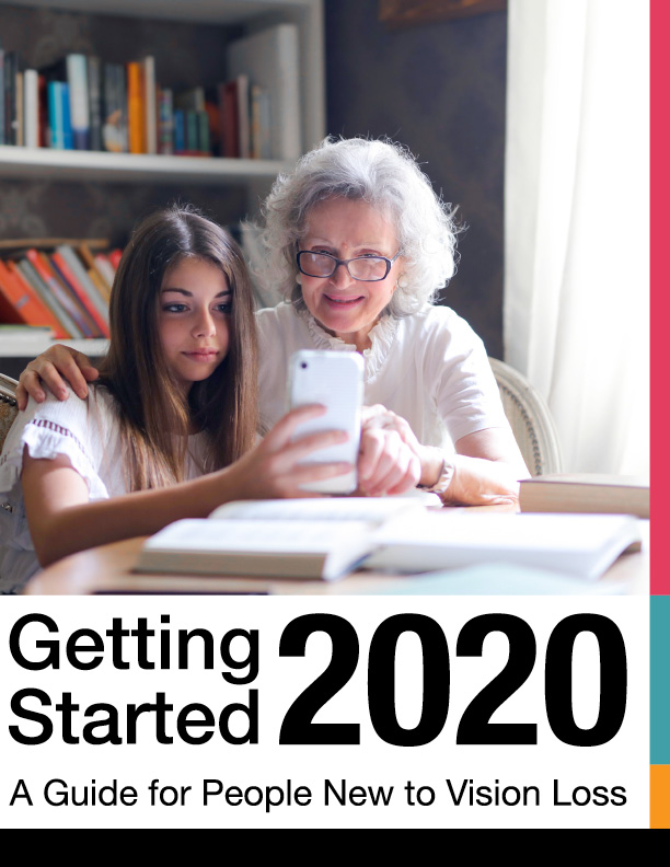 front cover of the VisionAware Getting Started Guide 2020. shows little girl demonstrating smart phone to older woman