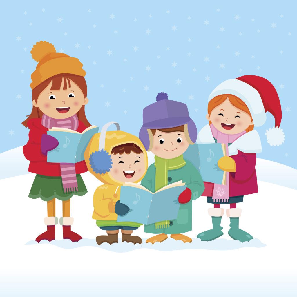 cartoon character kids singing carols