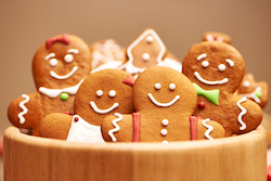 gingerbread cookies decorated for the holidays