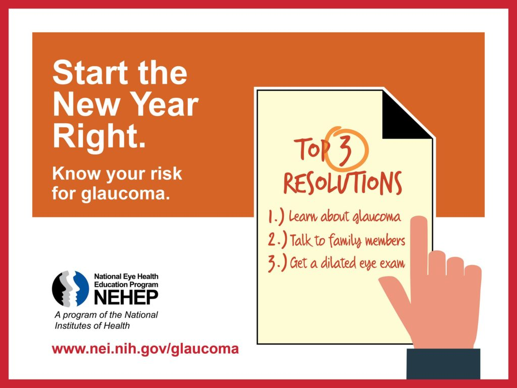 Info graphic that says: Start the New Year Right. Know your Risk for glaucoma. Top 3 resolutions: learn about glaucoma, talk to family members, get a dilated eye exam. National Eye Health Education Program. www.nei.nih.gov/glaucoma