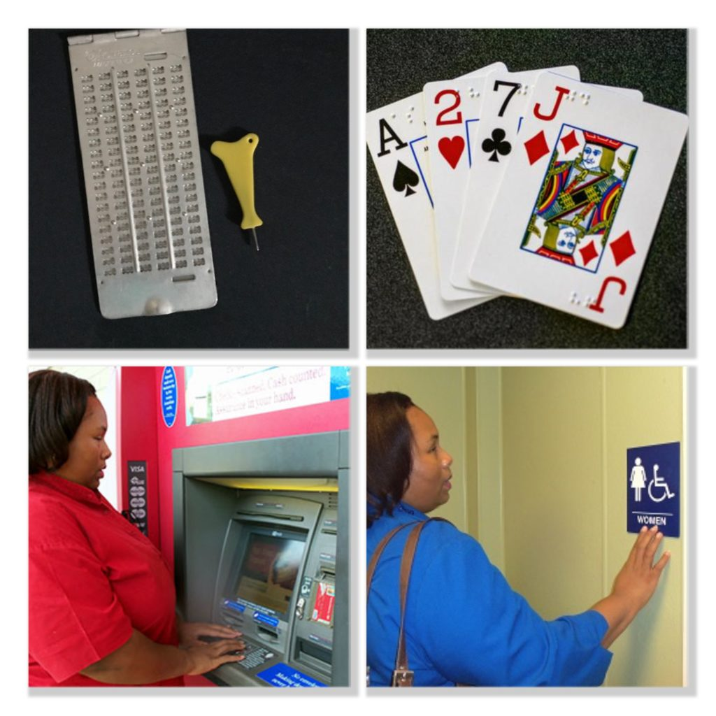 collage with braille slate and stylus top left, braille playing cards top right, woman using ATM bottom left, woman reading braille restroom sign bottom right