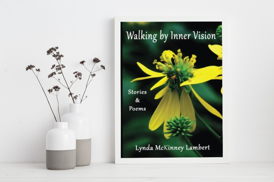"""picture of book cover """"Walking by Inner Vision"""" featuring large yellow flower"""