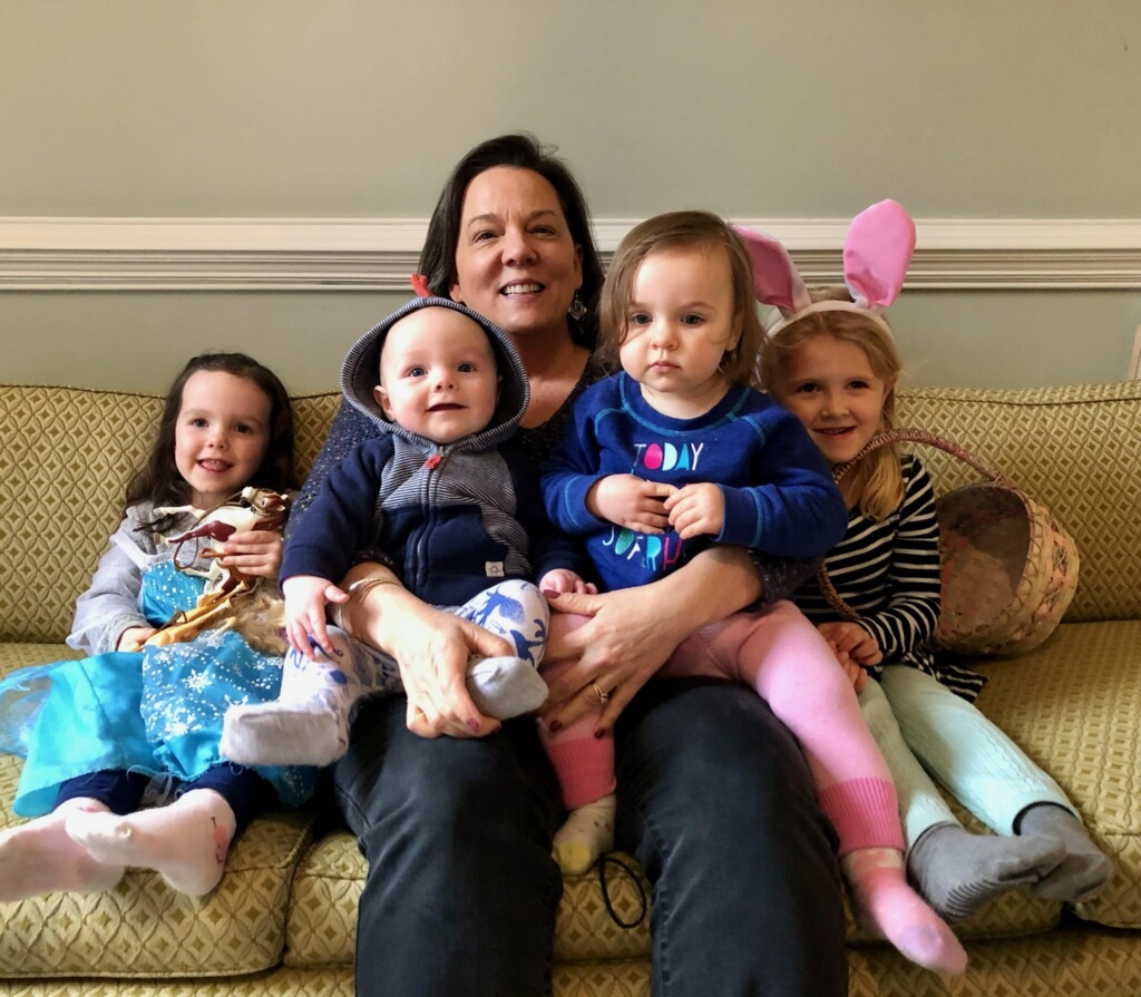 audrey with grandchildren on lap and around her