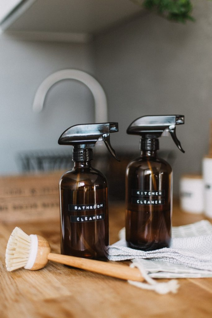 bottles of bathroom and kitchen cleaner with cleaning brush. Photo by Daiga Ellaby on Unsplash