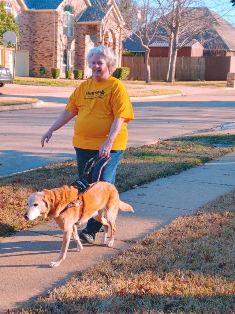 woman walking on sidewalk with guide dog