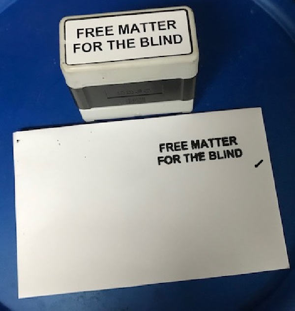 free matter for the blind stamp and envelope with free matter for the blind imprinted