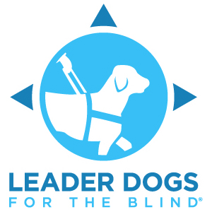 """Leader Dog logo--picture of dog in harness with words """"Leaders Dogs for the Blind"""""""