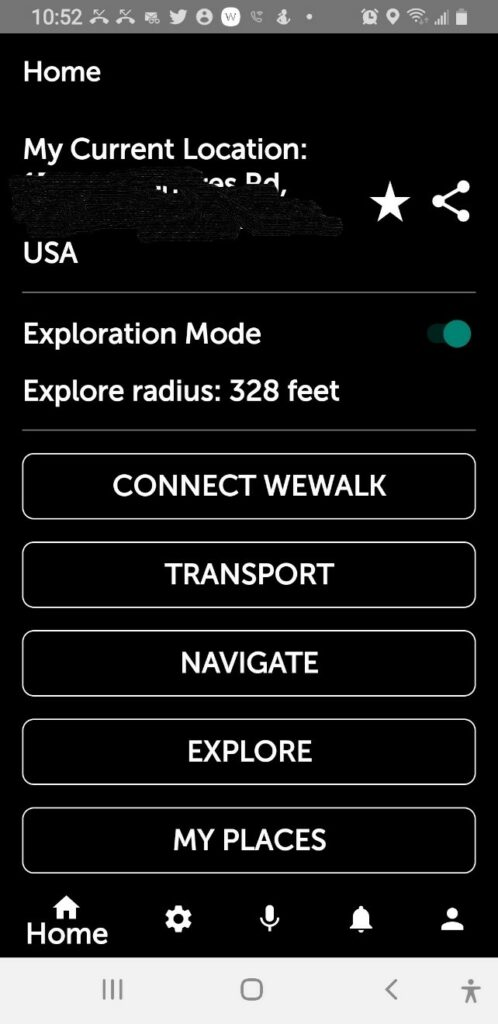 main menu with tabs showing current location, connect wewalk, transport, navigate, explore, my places