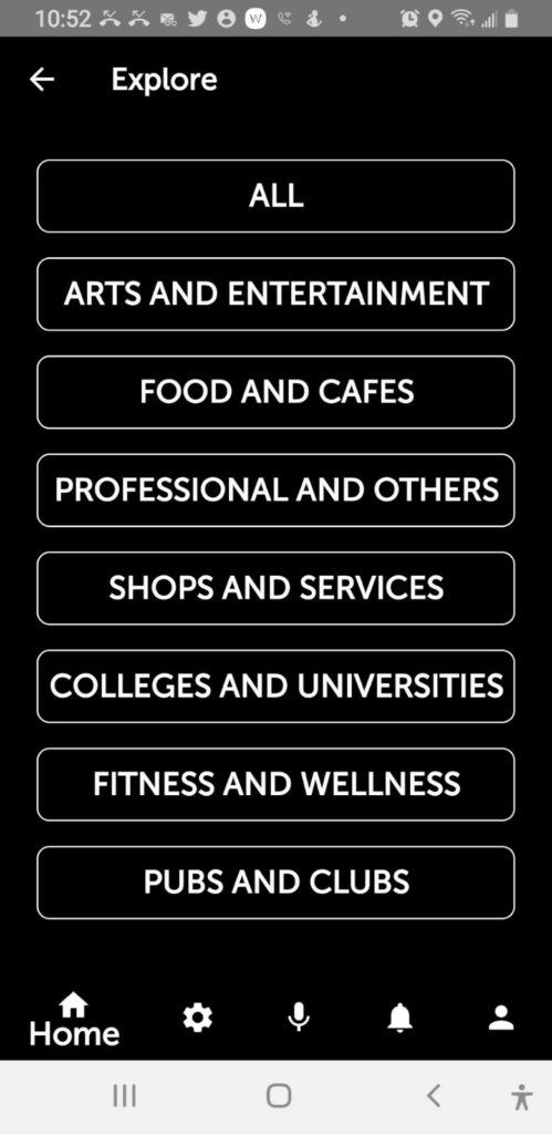 Explore menu: all, arts and entertainment, food and cafes, professional and others, shops and services, colleges and universities, fitness and wellness, pubs and clubs